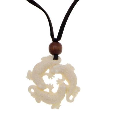 Men's wood and bone pendant necklace, 'Three Lucky Lizards' - Men's Bone Pendant Necklace