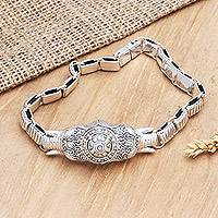Men's gold accent link bracelet, 'Royal Supreme' - Men's Hand Crafted Sterling Silver Bracelet