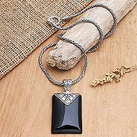 Gold accent onyx pendant necklace, 'Magnanimous' - Onyx and Sterling Silver Pendant Necklace