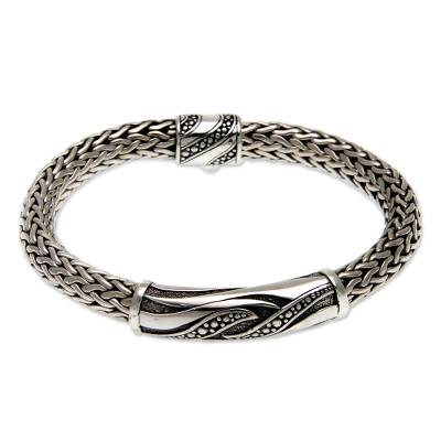 Men's sterling silver bracelet, 'Flames of Wisdom' - Men's Sterling Silver Chain Bracelet