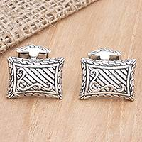 Sterling silver cufflinks, 'Royal Fern'