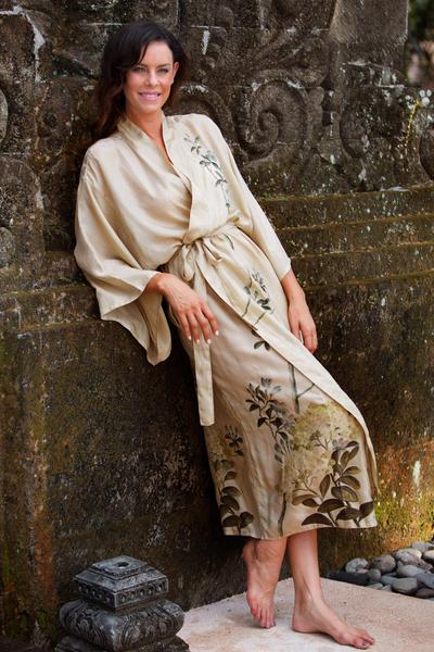 Silk robe, 'Azure Blossoms' - Silk robe