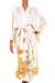 Silk robe, 'Golden Island' - Handcrafted Floral Silk Robe (image 2a) thumbail