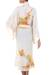 Silk robe, 'Golden Island' - Handcrafted Floral Silk Robe (image 2b) thumbail