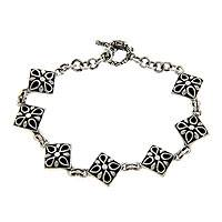 Sterling silver link bracelet, 'Botany Square' - Sterling Silver Link Bracelet from Indonesia