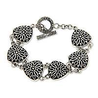 Sterling silver link bracelet, 'Night Lotus' - Sterling silver link bracelet