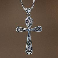 Sterling silver cross necklace, 'Blessings'