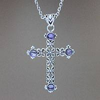 Amethyst cross necklace, 'Jasmine Light' - Unique Amethyst and Sterling Silver Cross Necklace