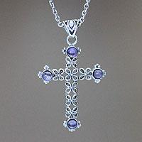 Amethyst cross necklace,