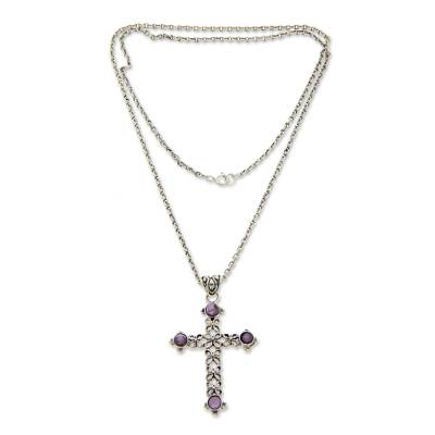 Unique Amethyst and Sterling Silver Cross Necklace