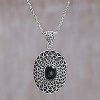 Onyx pendant necklace, 'Black Java Sun' - Onyx pendant necklace