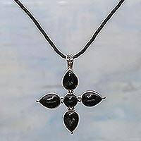 Onyx cross necklace, 'Constant Faith' - Onyx cross necklace