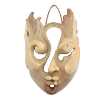 Artisan Crafted Natural Hibiscus Wood Mask from Novica Bali