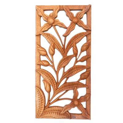 Wood relief panel, 'Spirit of the Wild Orchids' - Floral Wood Relief Panel