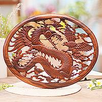 Wood wall panel, 'Naga and Garuda' - Hand Carved Dragon Wall Sculpture
