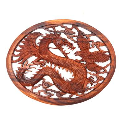 Hand Carved Dragon Wall Sculpture