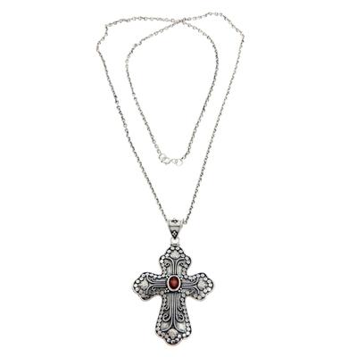 Garnet cross necklace