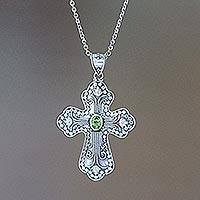 Peridot cross necklace, 'Redemption' - Peridot cross necklace