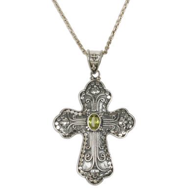 Peridot cross necklace