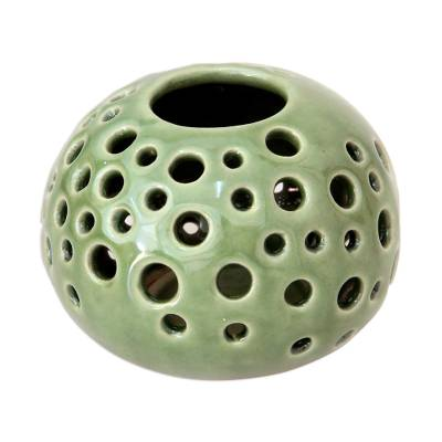 Modern Green Ceramic Candle Holder