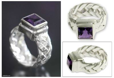 Amethyst solitaire ring, 'Light of Wisdom' - Amethyst solitaire ring