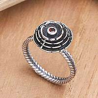 Garnet ring, 'January Carnation' - Sterling Silver and Garnet Flower Ring