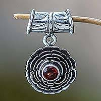 Garnet pendant, 'January Carnation' - Sterling Silver and Garnet Birthstone Pendant