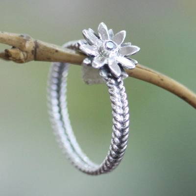 intertwined silver and gold rings - Cubic Zirconia and Sterling Silver Flower Ring