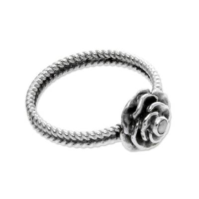 Cultured pearl ring, 'Glamorous Rose of June' - Handmade Sterling Silver and Pearl Flower Ring