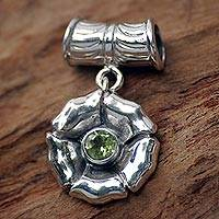 Peridot pendant, 'August Poppy' - Fair Trade Floral Sterling Silver and Peridot Pendant