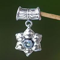 Blue topaz pendant, 'Narcissus of December' - Floral Sterling Silver and Blue Topaz Pendant
