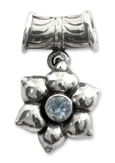 Floral Sterling Silver and Blue Topaz Pendant