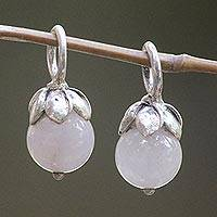 Rose quartz earring charms, 'Budding Love' - Rose Quartz Flower Earring Charms with Sterling Silver