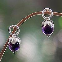 Amethyst earring charms, 'Budding Spirit' - Sterling Silver and Amethyst Flower Earring Charms