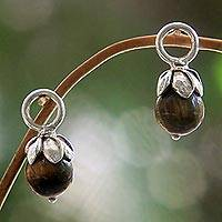 Tiger's eye earring charms, 'Budding Luck' - Tiger's Eye and Sterling Silver Flower Earring Charms