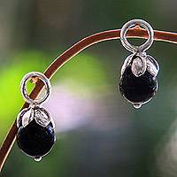 Onyx earring charms, 'Budding Onyx' - Sterling Silver Flower Hoop Earring Charms with Onyx