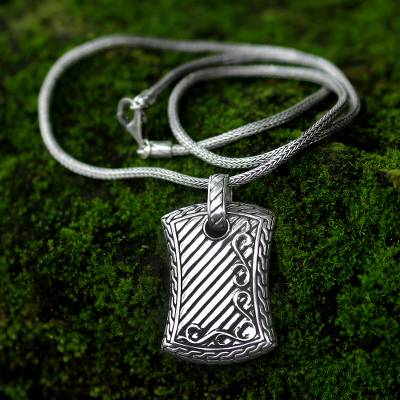 Men's sterling silver necklace, 'Royal Fern' - Men's Sterling Silver Pendant Necklace