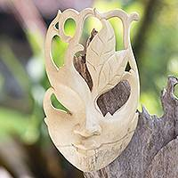 Wood mask, 'Floral Surrealism' - Wood mask