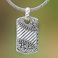 Men's sterling silver necklace, 'Batik Shield' - Men's Sterling Silver Pendant Necklace from Indonesia