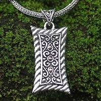 Men's sterling silver necklace, 'Royal Shield' - Men's sterling silver necklace