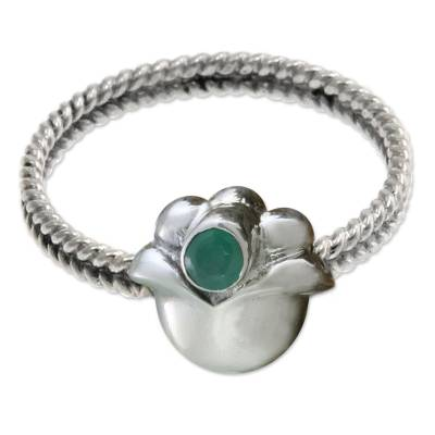 Emerald and Sterling Silver Ring