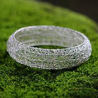 Sterling silver bangle bracelet, 'Energized' - Sterling silver bangle bracelet