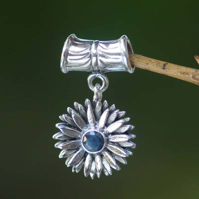 Sapphire pendant, 'September Aster' - Artisan Crafted Floral Sterling Silver and Sapphire Pendant