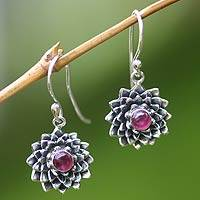 Ruby earrings, 'July Water Lily' - Sterling Silver and Ruby Dangle Earrings