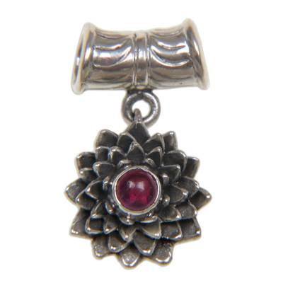 Handmade Floral Sterling Silver and Ruby Pendant
