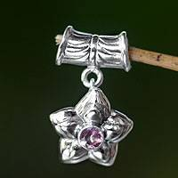 Pink tourmaline pendant, 'October Marigold' - Pink Tourmaline and Sterling Silver Flower Pendant