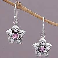 Pink tourmaline earrings, 'October Marigold' - Handcrafted Silver and Tourmaline Dangle Earrings
