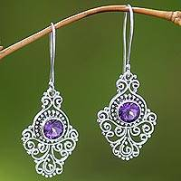 Amethyst dangle earrings, 'Peacock Aura' - Artisan Crafted Sterling Silver and Amethyst Earrings