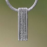 Men's sterling silver pendant necklace, 'Waterfall' - Men's Artisan Crafted Sterling Silver Pendant Necklace