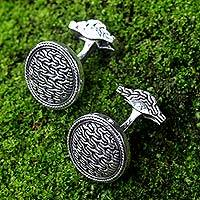 Sterling silver cufflinks, 'Waterfall' - Unique Indonesian Modern Sterling Silver Cufflinks